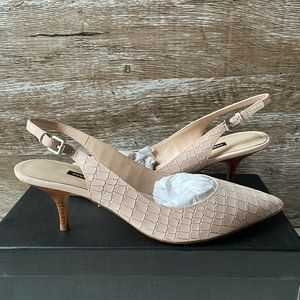 French Connection Blush Leather Slingback Pumps